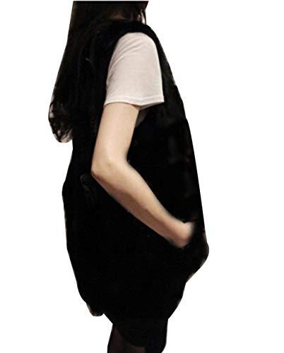 Fille Gilet Warm Fourrure Gilet Schwarz Hiver Fourrure Manche paisseur Femme De Sleeveless Large Fourrure Synthtique Automne Gilet Vest Blouson Uni w7qx0qYPS