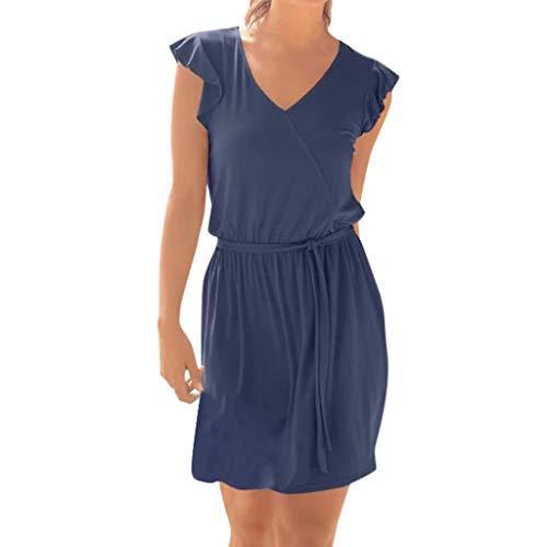Hemlock Women Sleeveless Dress V Neck Top Dress Slim Tie Waist Dress Solid Working Dress Beach Mini Dress Navy