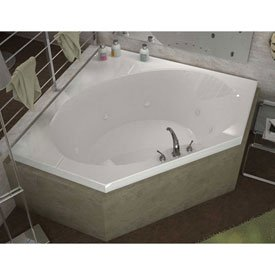 - Spa World Venzi Vz6060ewr Luna Corner Whirlpool Bathtub, 60x60, Center Drain, White