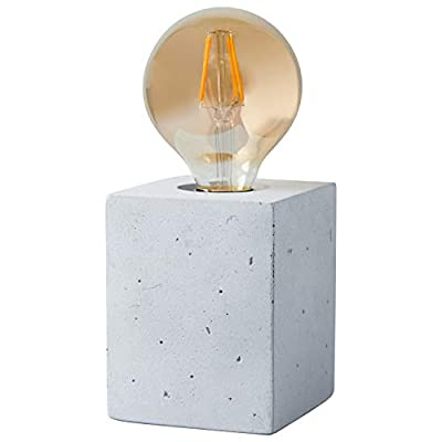 """Rivet Modern Cement Cube Base Table Lamp with Bulb, 4.5""""H, Cement"""
