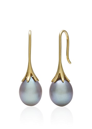 14K-Yellow-Gold-80-90mm-Grey-Cultured-Freshwater-Pearl-Drop-Earrings