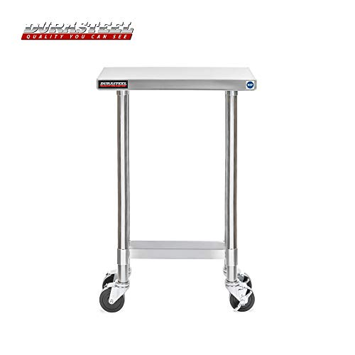 DuraSteel Stainless Steel Work Table 24'' x 12'' x 34'' Height w/ 4 Caster Wheels -  Food Prep Commercial Grade Worktable - NSF Certified - Good For Restaurant, Business, Warehouse, Home, Kitchen, Garage by DuraSteel (Image #1)
