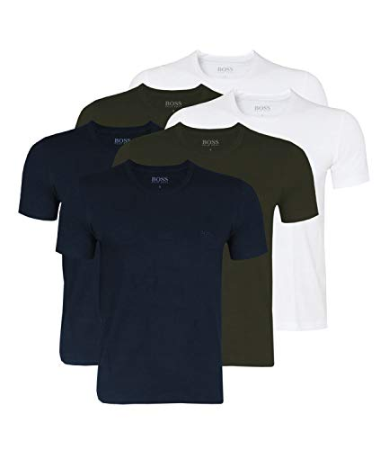 BOSS Hugo Men's T-Shirt Business Shirts Crew Neck 50325887 Pack of 6-399 White/Blue/Open Green, L