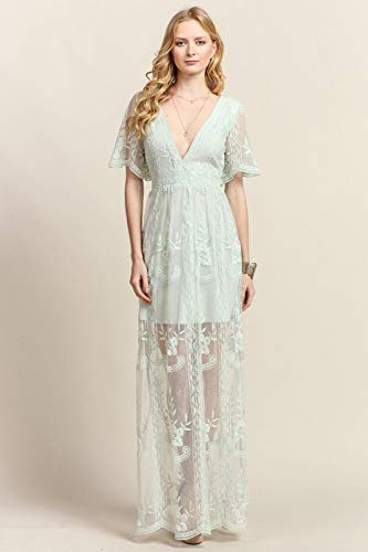 Embroidered Lace Maxi Dress Sage At Amazon Womens Clothing