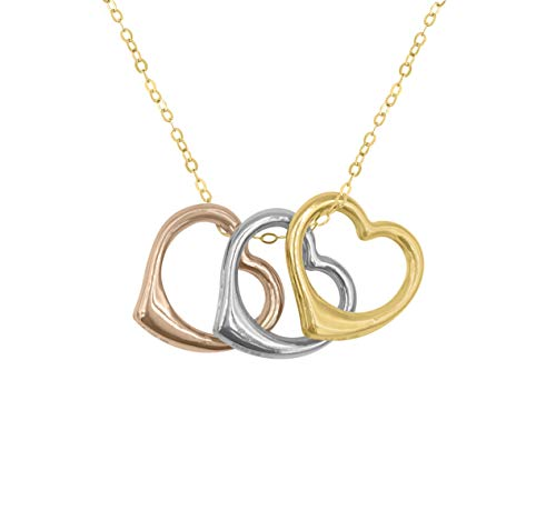 Amata Fine Jewelry 18K Yellow Gold Plated Sterling Silver 16mm Tri-Color Floating Heart Pendant Necklace for Women - Best Gifts Under $20 for Her, Women, Girls, Teens