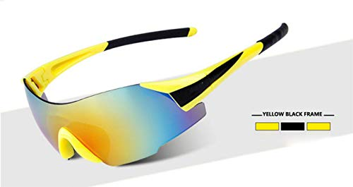 onebanana UV400 Sky Cycling Glasses Outdoor Sport MTB Bicycle Glasses Motorcycle Sunglasses Sports Eyewear Frameless Glasses Bike Goggles,Yellow Black ()