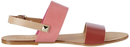 Pieces Women's Pslindsay Leather Multi Red Wedge Heels Sandals Red (High Risk Red) 3M5VHyK0AD