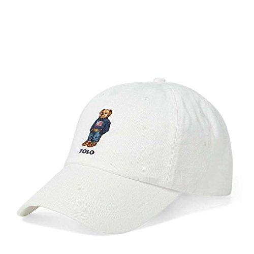 Polo Ralph Lauren Mens Teddy Bear Adjustable Ball Cap Hat (One Size, White)
