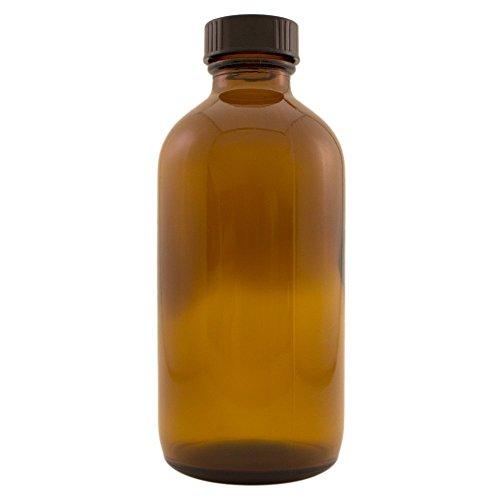 Amber Boston Round Glass Bottle w/ cap 8 oz ea