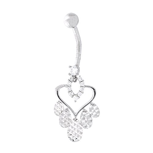 14k Yellow Gold Cubic Zirconia Fancy Open Heart Diamond Cut Teardrop Dangle Belly Ring ()