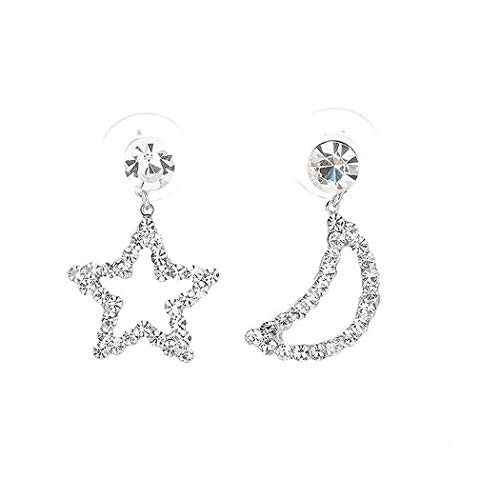 Glamorousky Star & Moon Earrings with Silver Austrian Element Crystals and CZ bead (793) ()