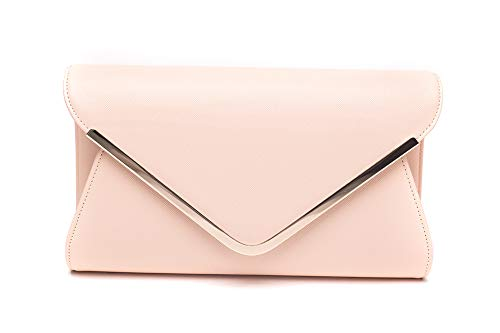 - ILISHOP High-end Brand Evening Envelope Clutches Bag for Women New Handbags Shouder Bags (Nude pink)