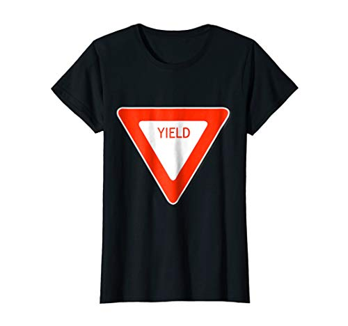 Womens Yield Sign Simple Easy Halloween Costume T-Shirt Medium Black -
