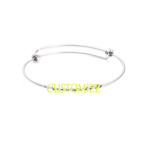New Name Bracelet - Yiyangjewelry Personalized Name Bracelet Expandable Bangle Stainless Steel Jewelry for Women (Customize)