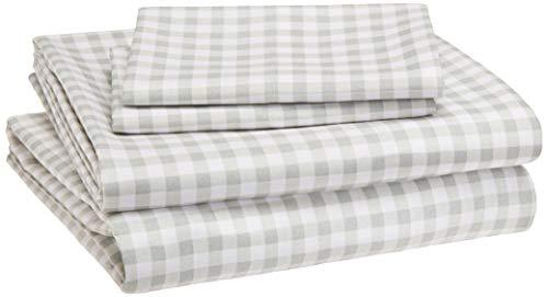 AmazonBasics Kids Sheet Set - Soft, Easy-Wash Microfiber - Queen, Grey Gingham Plaid