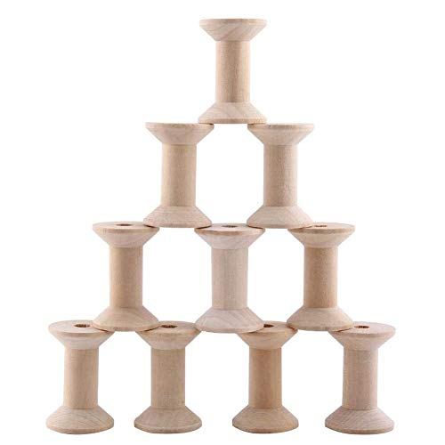 10pcs Wooden Empty Spool Empty Thread Spools Natural Wire Weaving Bobbins Wood Color 47mm x31mm ()