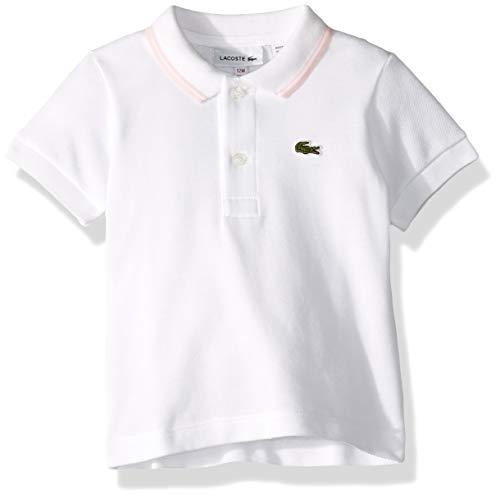 Lacoste Baby Infant Layette Short Sleeve Pique Semi Fancy Polo Gift Box, White Flamingo, 12 - Baby Layette Fancy