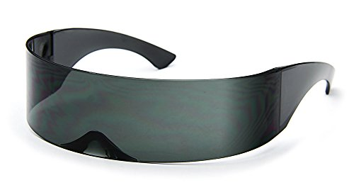 a55d30727b Amazon.com  Futuristic Cyclops Sunglasses Wrap Around Shield Monoblock 100%  UV400