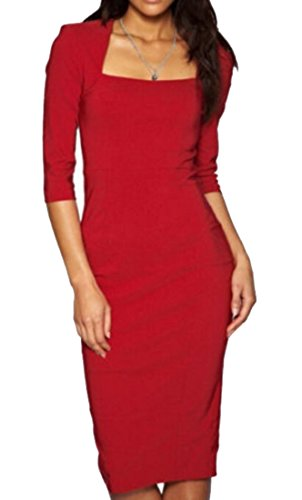Red Square Neck Dress - 3