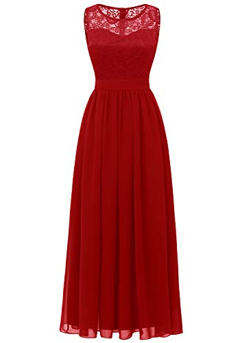 Dressystar 0046 Lace Chiffon Bridesmaid Dress Sleeveless Formal Wedding Party Dress Red M