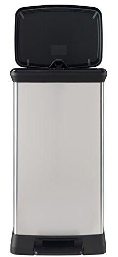 Curver 02162-582-00 Abfallbehälter Deco B Metallics mit Pedal, 50 L, silber
