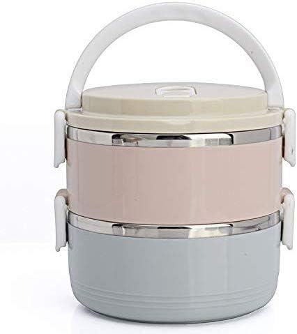 Lonchera / Olla Macaron de acero inoxidable Caja de almuerzo de doble color Cuchara de regalo Cantimplora