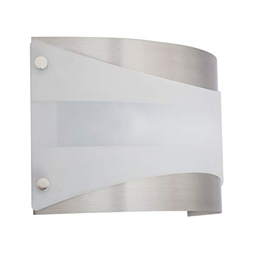 Acciaio Wall Sconce One-Light Lamp Brushed Nickel with White Diffuser - Linea di Liara LL-SC6-BN
