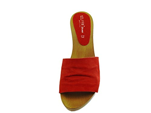unica Zuecos Marrone de negro Rosso mujer Silfer taglia Piel para Shoes negro AznUqw