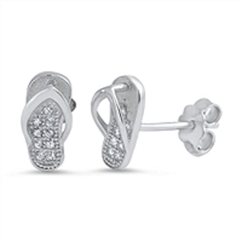- Clear Cubic Zirconia Pave Flip Flops Stud Earrings Sterling Silver