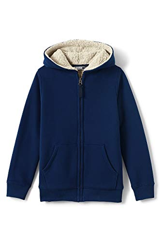 Lands End Kids Fleece - Lands' End Little Boys Sherpa Lined Hoodie, M, Deep Sea