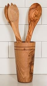 Olive Wood 3-Piece Salad Server Set with Holder - A striking presentation for tossed greens, fresh pastas, side dishes - Includes spoon, fork, and holder - Handcrafted in Tunisia, each piece is unique