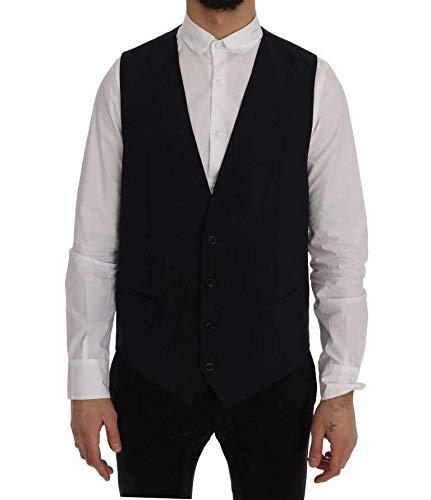 (Dolce & Gabbana Black Staff Wool Striped)