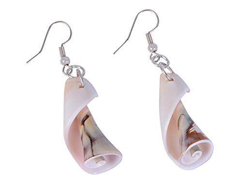 Alilang Dangling Chunky Sculptural Spiral Sea Shell Ocean Jewelry Earrings