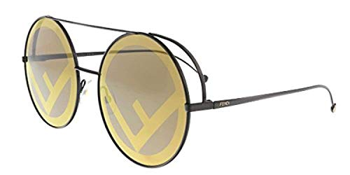 Fendi Women's Round Holographic Sunglasses, Brown/Brown Gold, One Size from Fendi