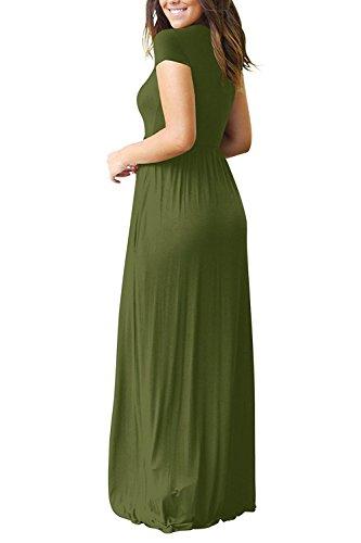 Casuali Euovmy Manica Maxi Abiti Sciolto Con Tasche Verde esercito Manica Semplici Delle Donne Vestiti Lunghi short Corta 1 wwdrpv