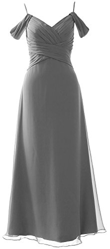 MACloth Off Formal The Bridesmaid Gown Dress Wedding Gray Long Elegant Shoulder Party rR1rq