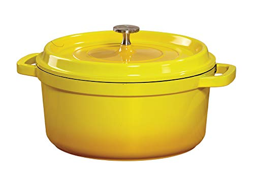 G.E.T. Enterprises Yellow 5 Quart Round Dutch Oven, Cast Aluminum with Lid and Handles Heiss CA-012-Y/BK