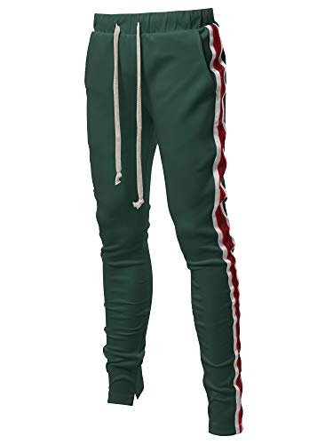 Slim Track - Style by William Casual Side Panel Long Length Drawstring Ankle Zipper Track Pants Green L