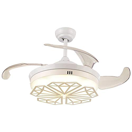 (NAF Invisible Ceiling Fan Light,with 4 Reversible Blades Remote Control Modern Art Deco Chandelier White 42 inches)