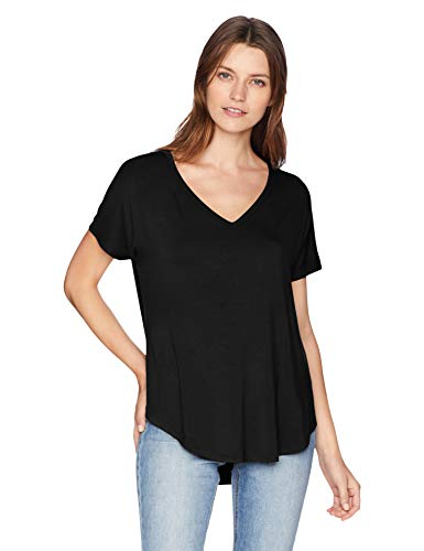 (Daily Ritual Women's Jersey Short-Sleeve V-Neck Longline T-Shirt, Black Large)