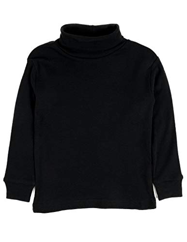 - Leveret Girls Boys & Toddler Solid Turtleneck 100% Cotton Kids Shirt (3 Toddler, Black)