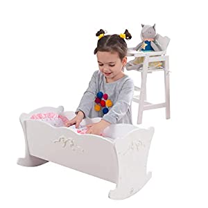 KidKraft Tiffany Bow Scalloped-Edge Wooden Lil Doll Rocking Cradle with Comforter, Pad and Pillow – White