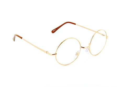 Small Circle Round Glasses Metal Frame Harry Porter Style (Gold, Clear)