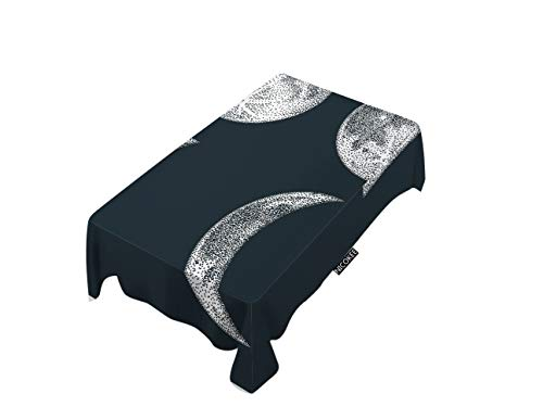 - NICOKEE Polyester Decorative Tablecloth Lunar Eclipses Rectangle Table Cloth Moon Moonlight Night Cosmos Universe Table Cover for Kitchen Dinning Party End Table Protection