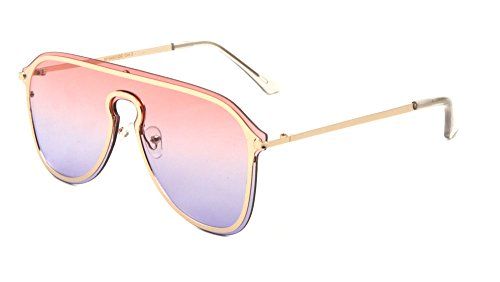 TWING Modern Fashion Flat Top Metal Aviator Aolor Lens Sunglasses AV-1548-OC - Flat Aviator Top Sunglasses