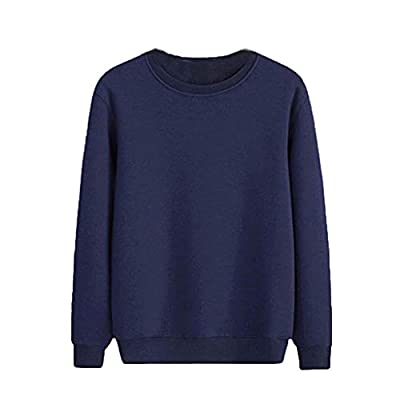 Men's Crewneck Fleece Sweatshirt Pullover Solid Sweater Long Sleeve Knitted Pullover Basic Slim Fit Casual T Shirts: Clothing