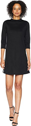 American Rose Women's Simone Mock Neck French Terry Dress with Stripes Black/White (French Terry Mock Neck)