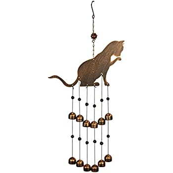Chen Imports SS-G-99985 Wind Chime with Black Coated Gems Cats on The Moon Hanging Decoration George S