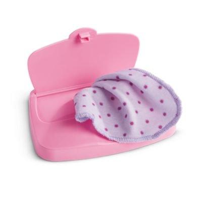 American Girl Bitty Baby Or Twins Bitty's Pink Hard Wipe Case & Wipe Set