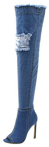 SHU CRAZY Womens Ladies Denim Over The Knee Thigh High Zip Up Peep Toe Ripped Jeans High Stiletto Heel Boots - Z49 LIGHT DENIM BLUE